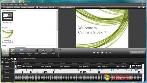 Screenshot Camtasia Studio for Windows 7