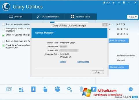 Screenshot Glary Utilities for Windows 7