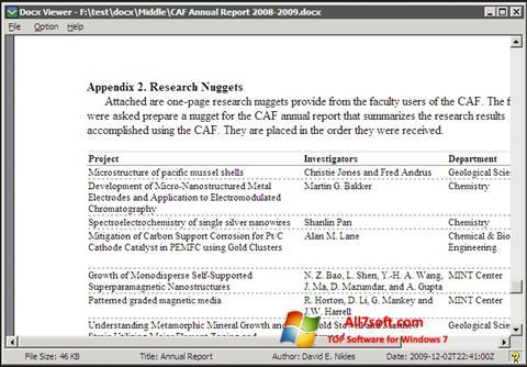 Screenshot DocX Viewer for Windows 7