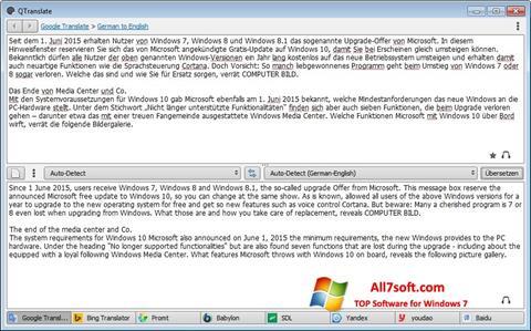 Screenshot QTranslate for Windows 7