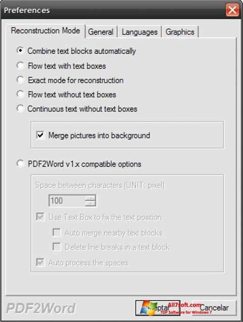 Screenshot PDF2Word for Windows 7