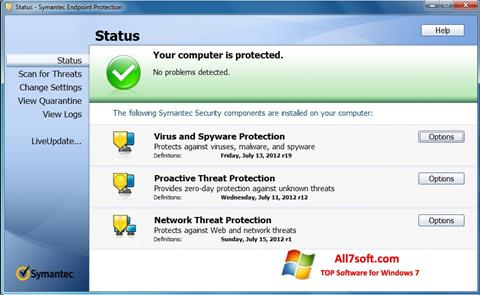 Screenshot Symantec Endpoint Protection for Windows 7