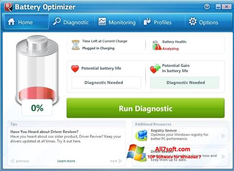 Screenshot Battery Optimizer for Windows 7