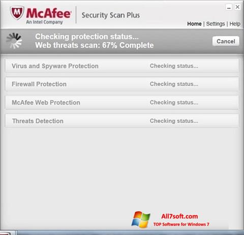 Screenshot McAfee Security Scan Plus for Windows 7