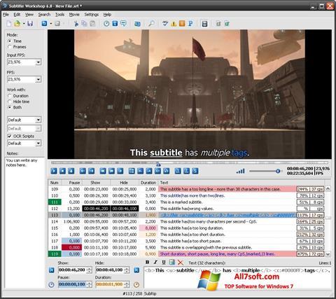Screenshot Subtitle Workshop for Windows 7