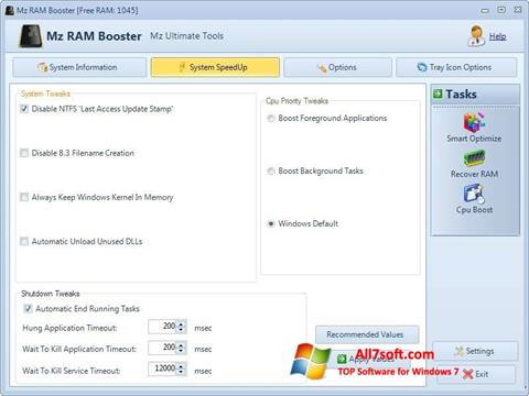 Screenshot Mz RAM Booster for Windows 7