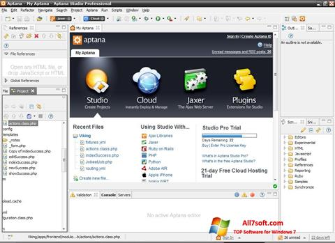 Screenshot Aptana Studio for Windows 7