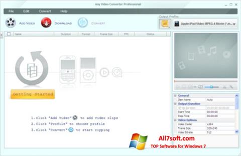 Screenshot Any Video Converter for Windows 7