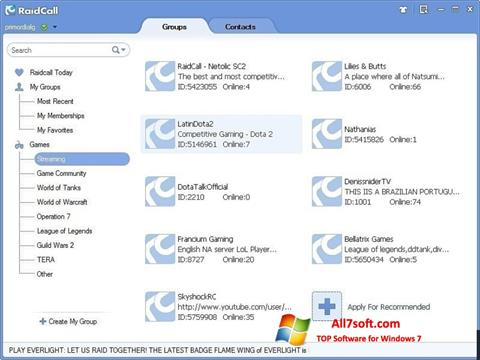 Screenshot RaidCall for Windows 7