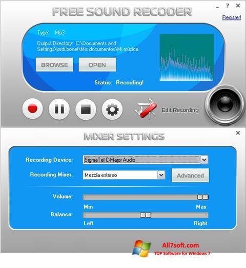 Screenshot Free Sound Recorder for Windows 7