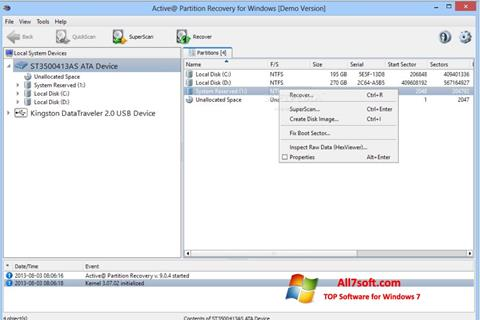 Screenshot Active Partition Recovery for Windows 7