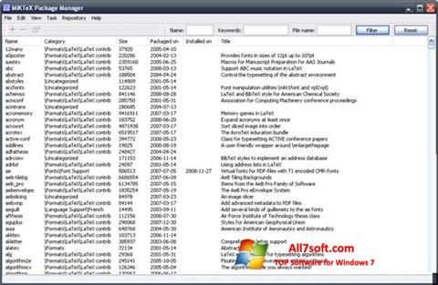 Screenshot MiKTeX for Windows 7