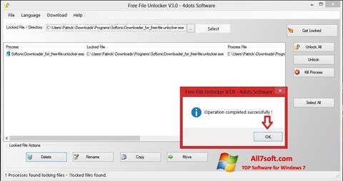 Screenshot Free File Unlocker for Windows 7