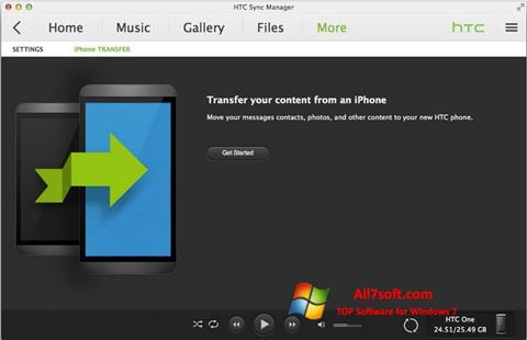 Screenshot HTC Sync for Windows 7