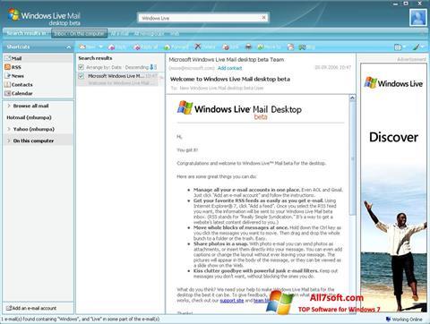Screenshot Windows Live Mail for Windows 7