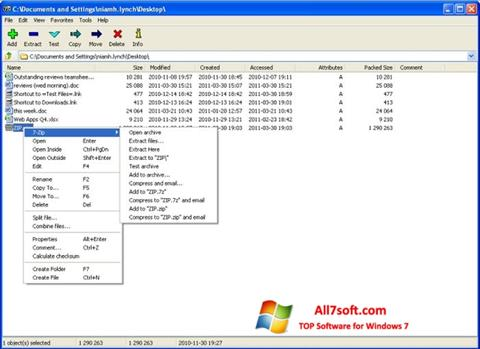 Screenshot 7-Zip for Windows 7