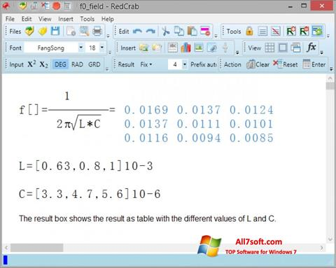 Screenshot RedCrab Calculator for Windows 7