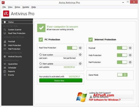 Screenshot Avira Antivirus for Windows 7