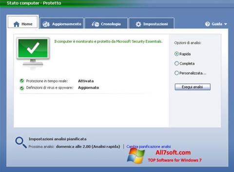 Screenshot Microsoft Security Essentials for Windows 7