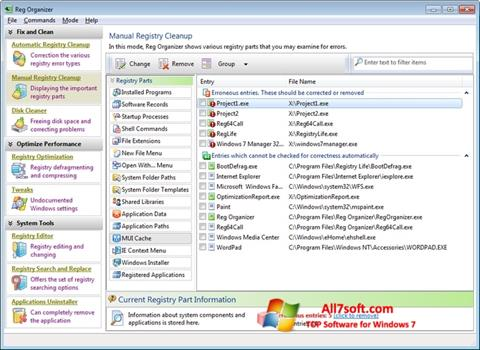 Screenshot Reg Organizer for Windows 7