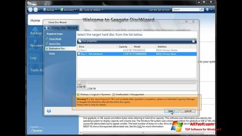 Screenshot Seagate DiscWizard for Windows 7