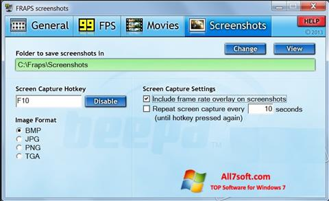 Screenshot Fraps for Windows 7