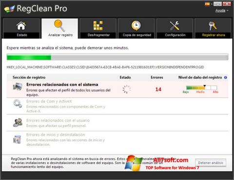 Screenshot RegClean Pro for Windows 7