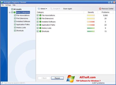 Screenshot Auslogics Registry Cleaner for Windows 7