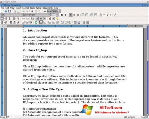 Screenshot AbiWord for Windows 7