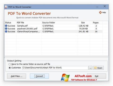 Screenshot PDF to Word Converter for Windows 7