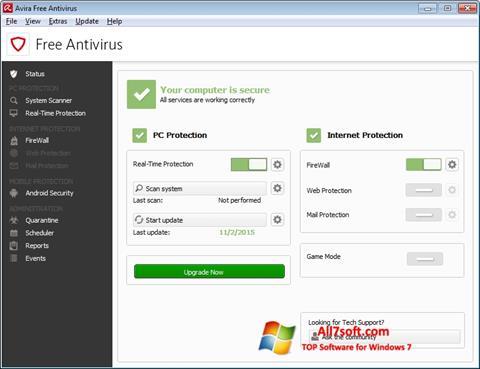 Screenshot Avira Free Antivirus for Windows 7