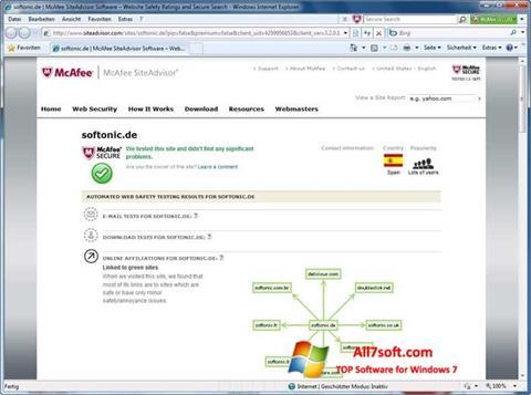 Screenshot McAfee SiteAdvisor for Windows 7