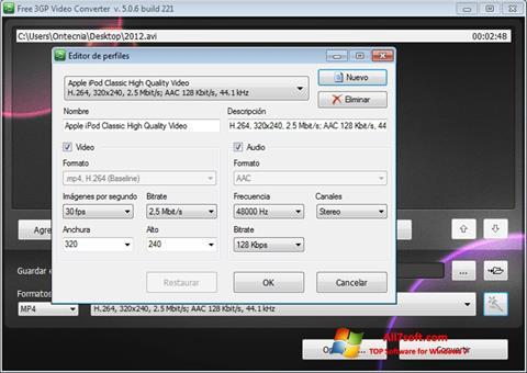 Screenshot Free MP4 Video Converter for Windows 7
