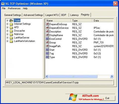 Screenshot TCP Optimizer for Windows 7