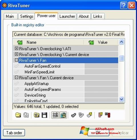 Screenshot RivaTuner for Windows 7