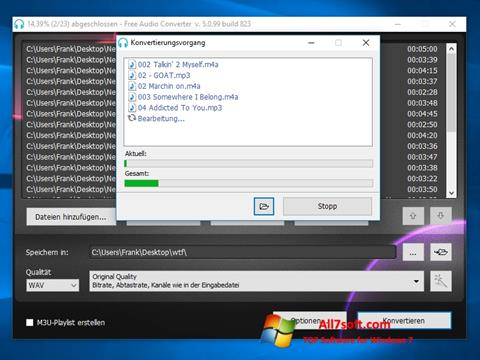 Screenshot Free Audio Converter for Windows 7