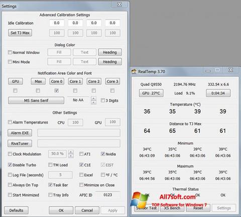 Screenshot Real Temp for Windows 7