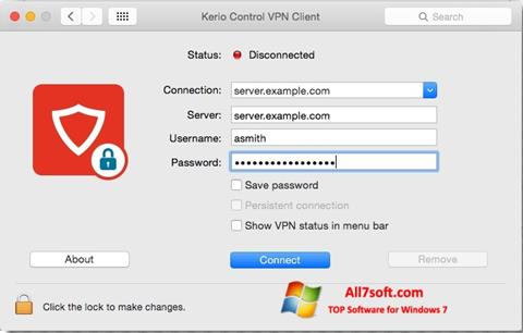 Screenshot Kerio VPN Client for Windows 7