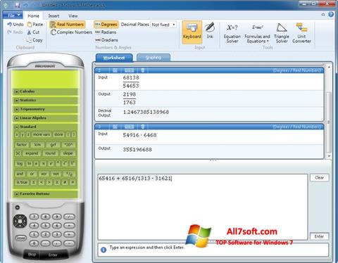 Screenshot Microsoft Mathematics for Windows 7