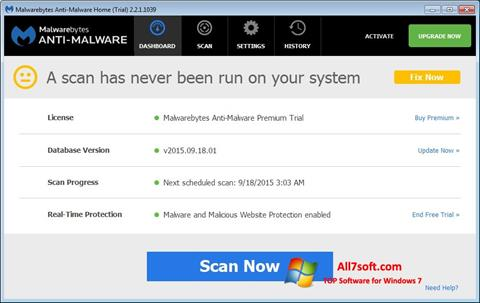 Screenshot Malwarebytes Anti-Malware Free for Windows 7