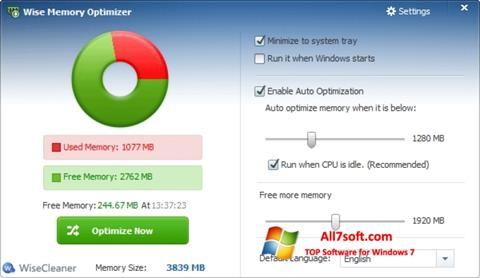 Screenshot Wise Memory Optimizer for Windows 7