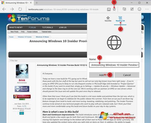 Screenshot Microsoft Edge for Windows 7