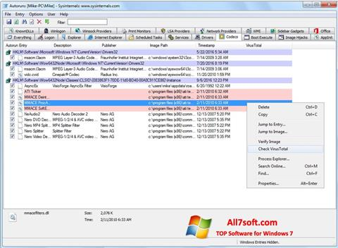 Screenshot AutoRuns for Windows 7