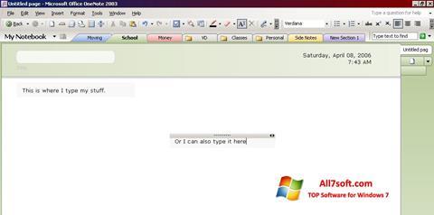 Screenshot Microsoft OneNote for Windows 7