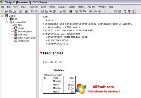 Screenshot SPSS for Windows 7