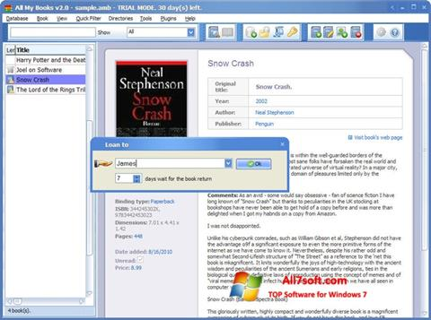 Screenshot All My Books for Windows 7