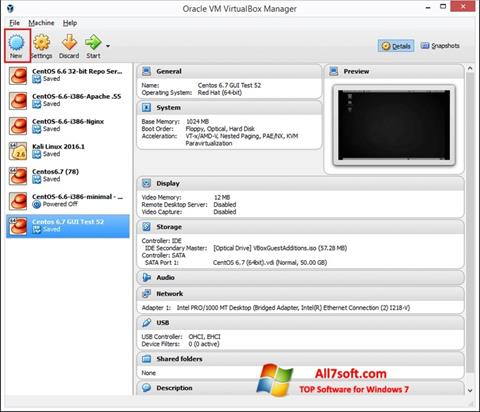Screenshot VirtualBox for Windows 7