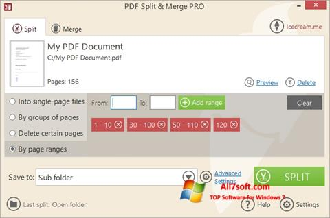Screenshot PDF Split and Merge for Windows 7