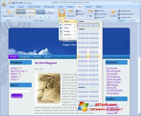 Screenshot Artisteer for Windows 7