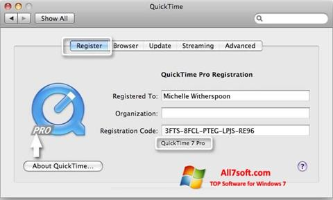 Screenshot QuickTime Pro for Windows 7